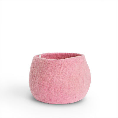 Medium Pink Felted Wool Plant Pot
