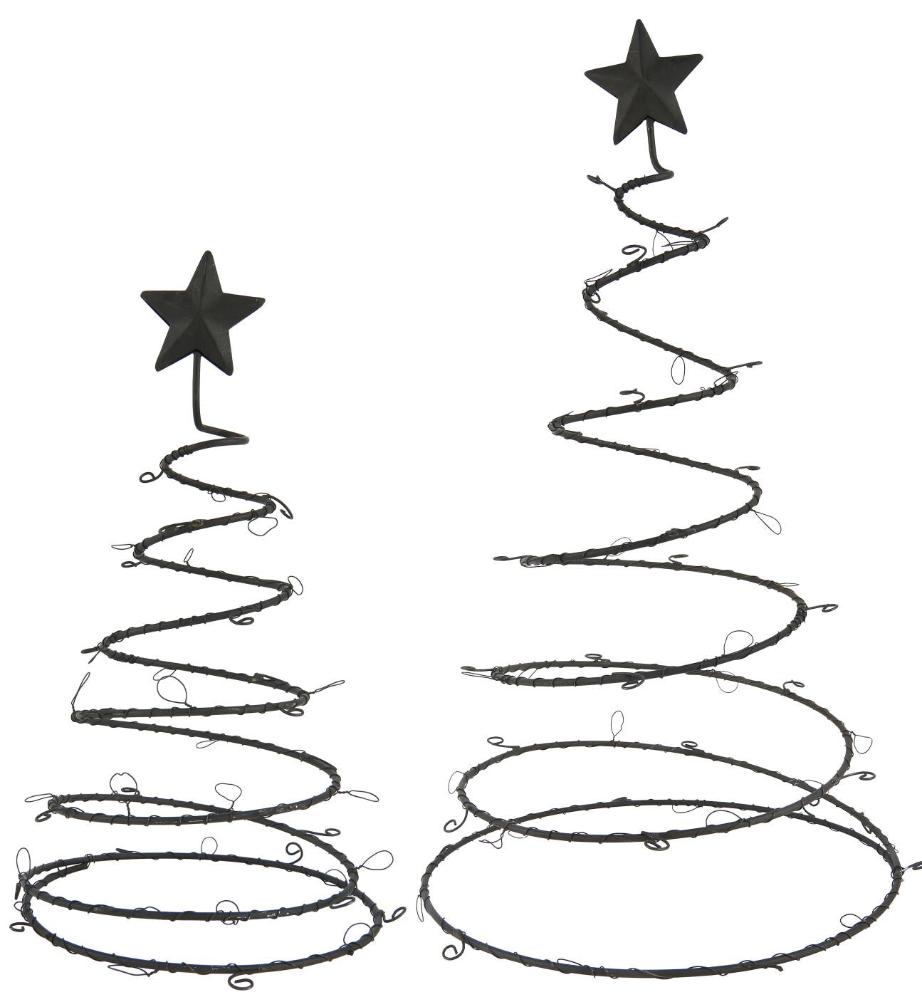 Set of 2 Metal Christmas Tree Decorations