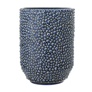 Navy blue textured stoneware vase with dimple design