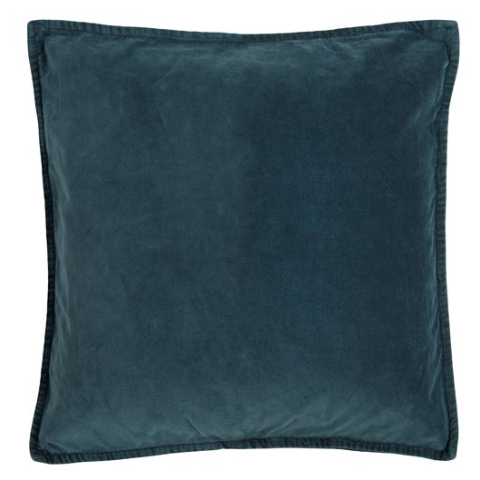 Mid blue velvet cushion