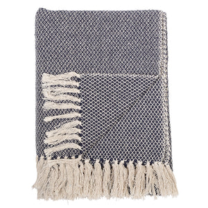 Navy Woven Diamond Design Blanket