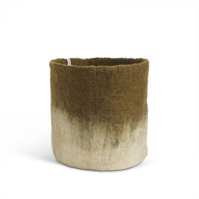 Large Olive Green Ombre Felted Wool Plant Pot