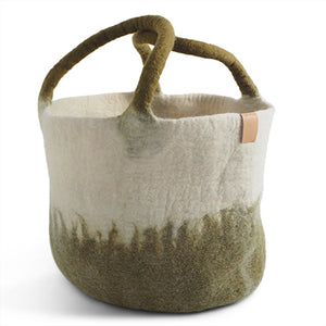 Large Felted Wool Ombre Olive Green Basket with Handles