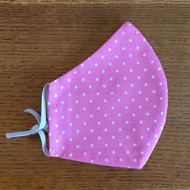 Pink Spot Printed Cotton Adjustable Face Covering / Face Mask (Non Medical)