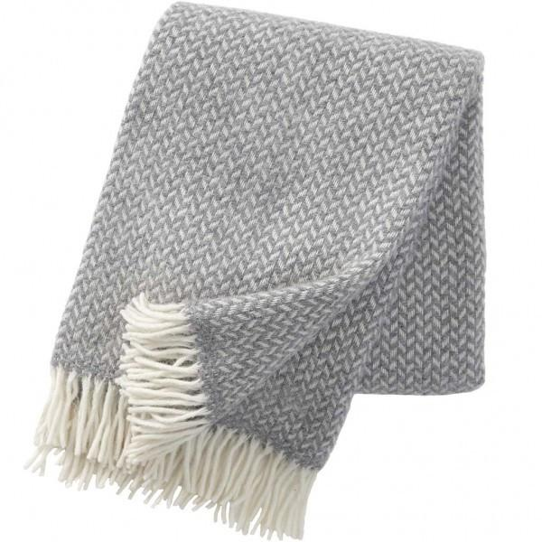Grey polka brushed lambswool blanket