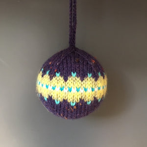 Knitted Christmas Decoration, Purple Fairisle - Made to Order