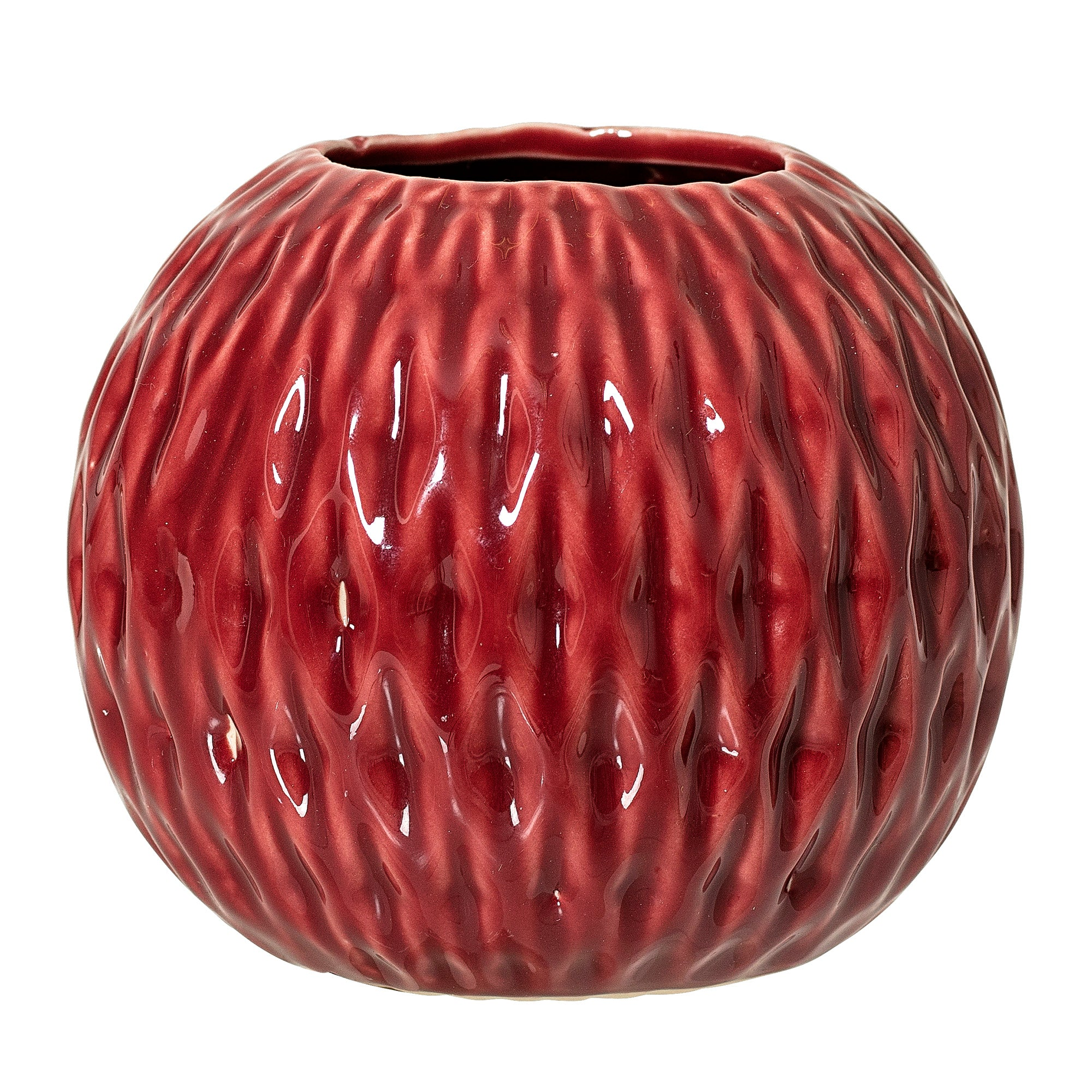 Red Textured Stoneware Vase