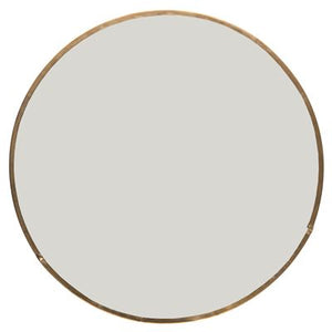 Circular mirror with antique gold frame