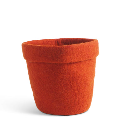 Large Rust Felted Wool Flower Pot
