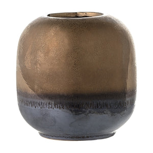 Small bronze & pewter stoneware vase with graduated design