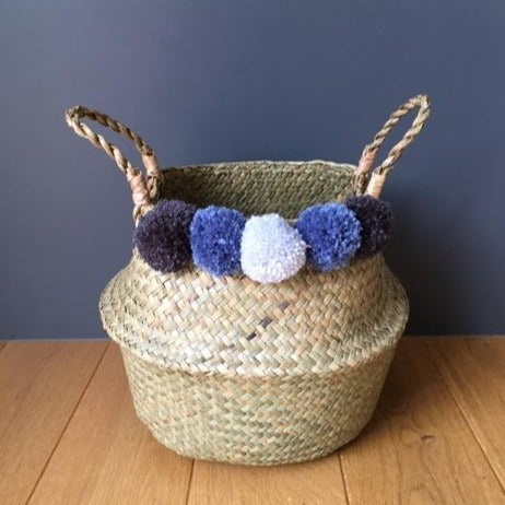 Small Natural Belly Basket with Grey Pom Poms