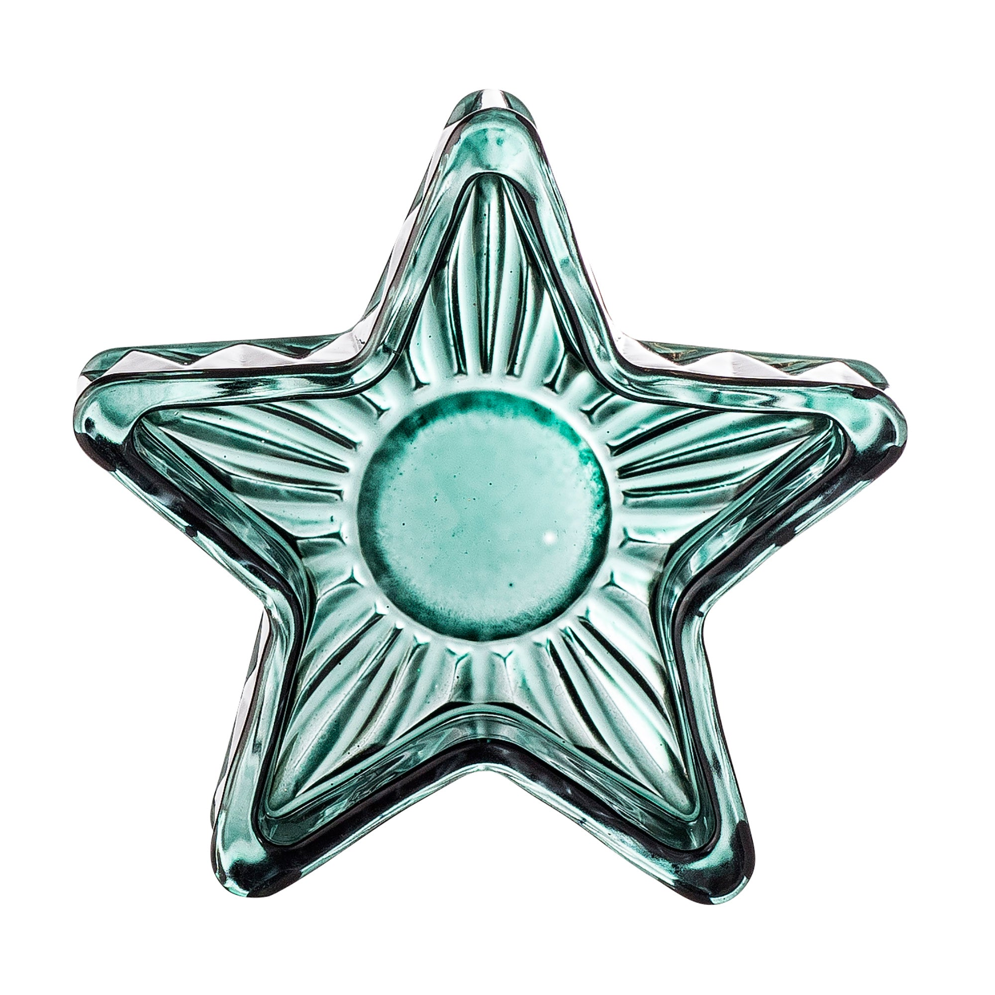 Green Glass Star Tealight Holder