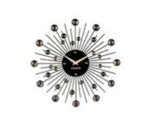 Black Sunburst Crystal Wall Clock