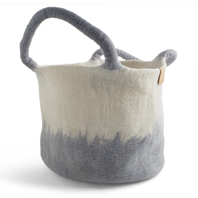 Large Felted Wool Ombre Grey Basket with Handles