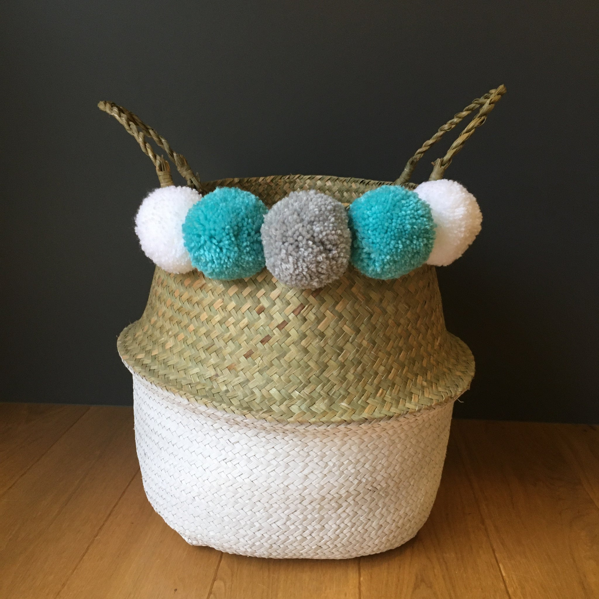 Large Pom Pom Belly Basket with White Bottom