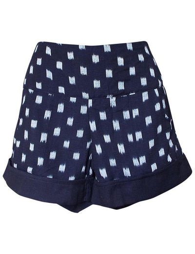 Dark Blue Ikat Shorts