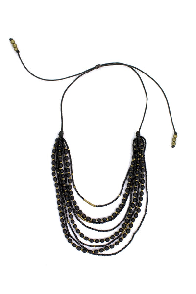 Mallorca Necklace - Black with Gold