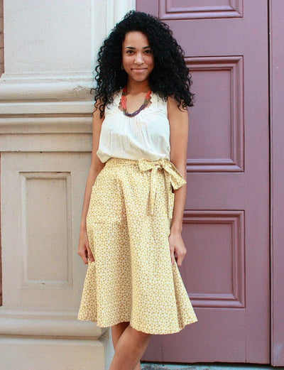 Golden Goddess Midi Skirt
