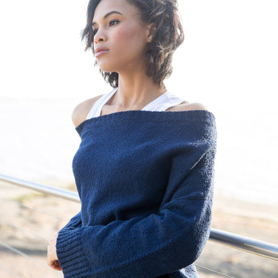 Off-Shoulder Boucle Sweater