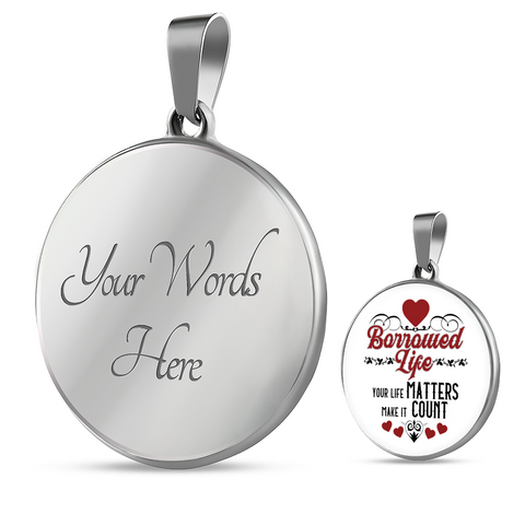 Inspirational Quote Round Pendant