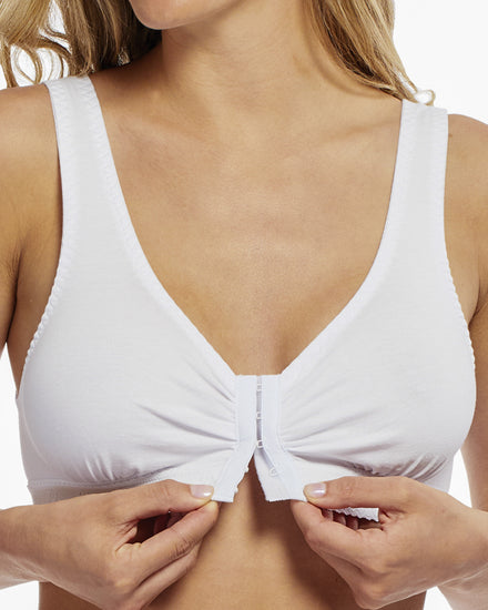 Front Closure Cotton Comfort Bra - White | Angel | Adaptive Clothing by Ovidis