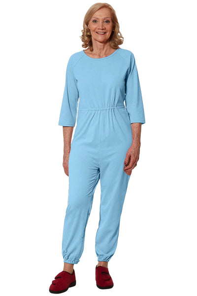 Anti-Strip Jumpsuit for Women - Blue | Carrie | Adaptive Clothing by Ovidis