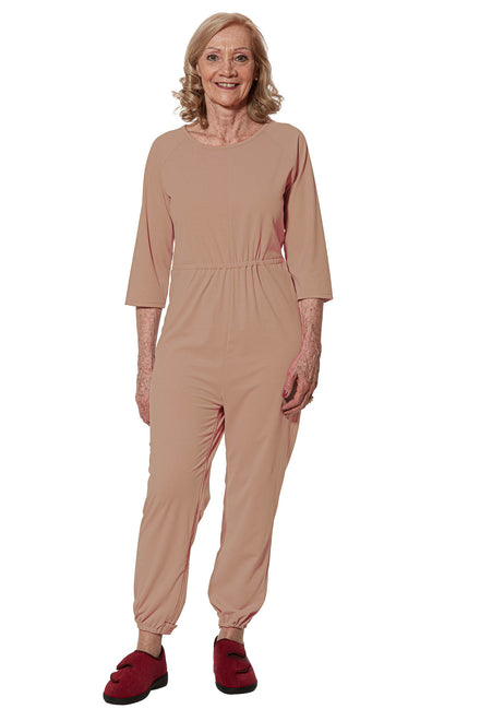 Anti-Strip Jumpsuit for Women - Beige | Carrie | Adaptive Clothing by Ovidis
