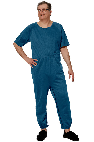 Anti-Strip Jumpsuit for Men - Blue | Bobby | Adaptive Clothing by Ovidis