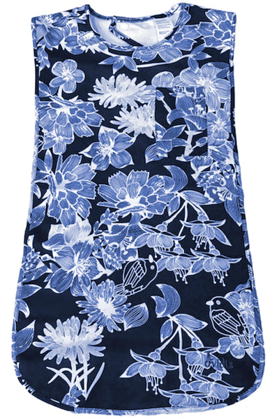 Adult Bib Waterproof Clothing Protector - Blue | Flowers