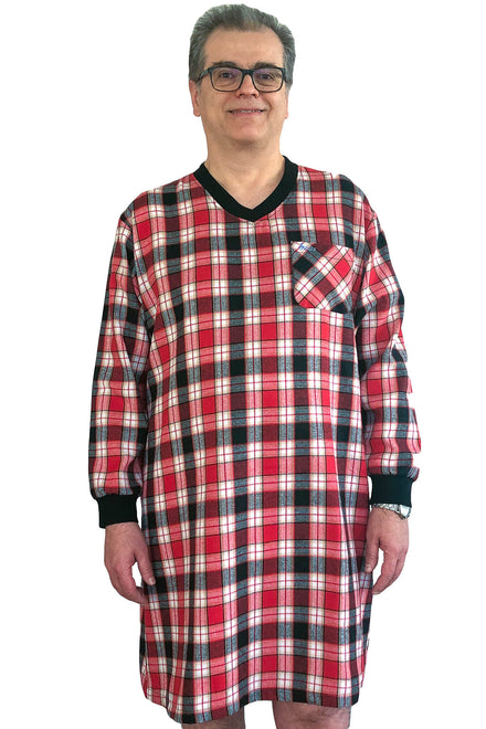 Nightshirt for Men - Red | Joey | Adaptive Clothing by Ovidis