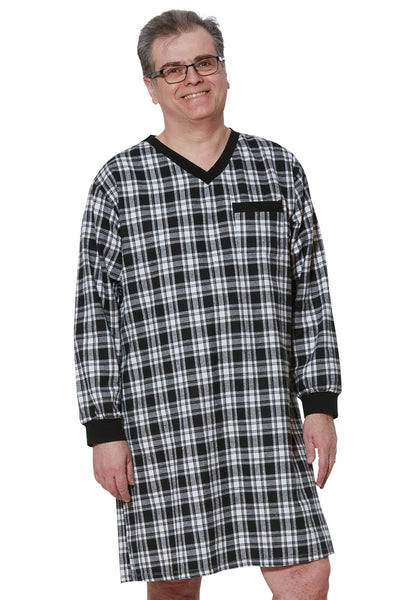 Nightshirt for Men - Black | Stewart | Adaptive Clothing by Ovidis