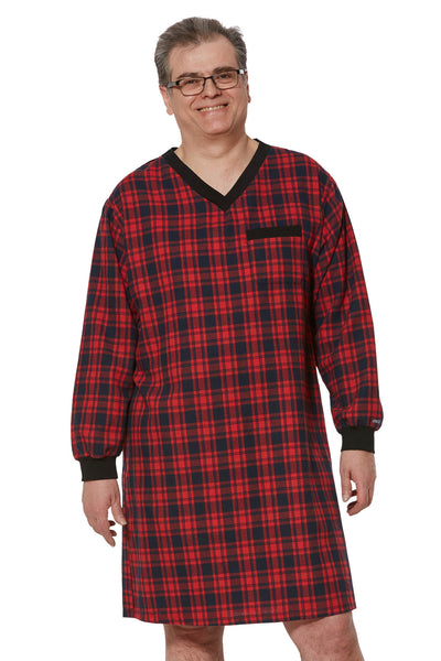 Nightshirt for Men - Red | Stewart | Adaptive Clothing by Ovidis