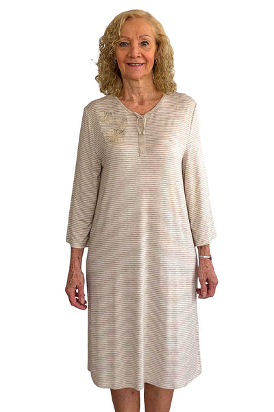 Nightgown for Women - Beige | Ellie | Adaptive Clothing by Ovidis