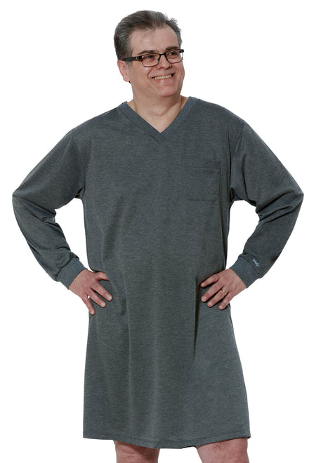 Nightshirt for Men - Grey | Billy | Adaptive Clothing by Ovidis