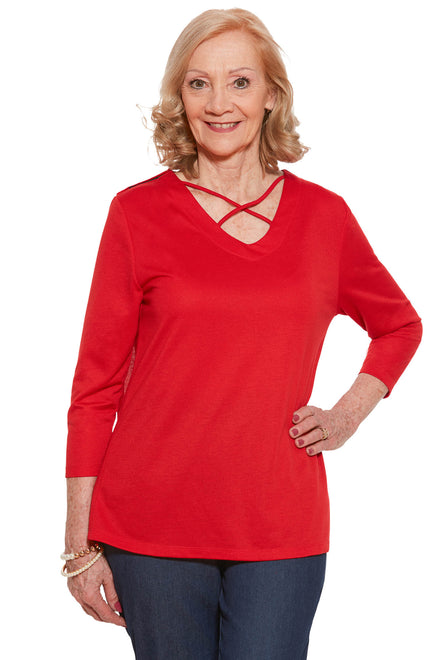 Knit Top for Women - Red | Siri | Adaptive Clothing by Ovidis