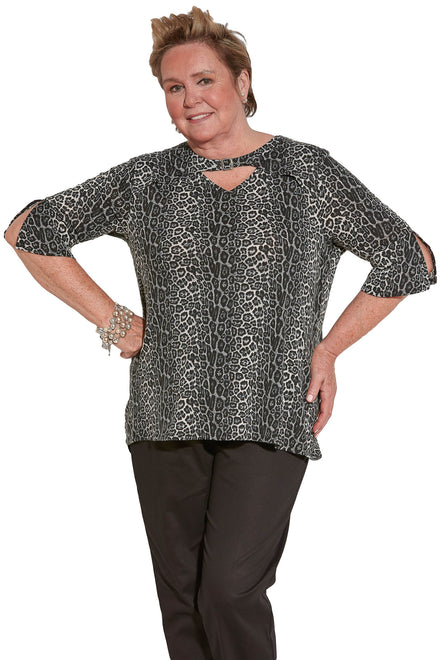 Knit Top for Women - Leopard | Gigi | Adaptive Clothing by Ovidis