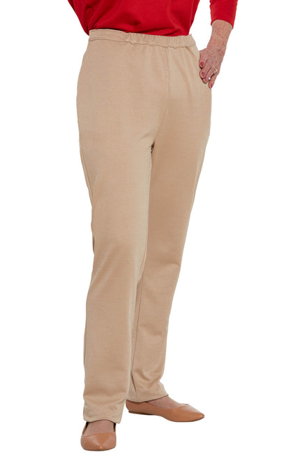 Knit Pants for Women - Beige | Arie | Adaptive Clothing by Ovidis