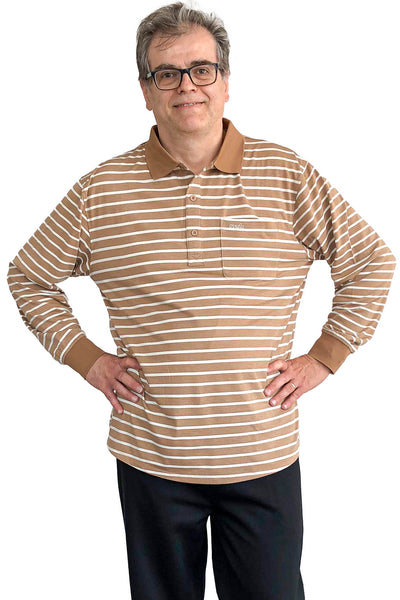 Long-Sleeved Adaptive Polo Shirt for Men - Brown | Lucas | Adaptive Clothing