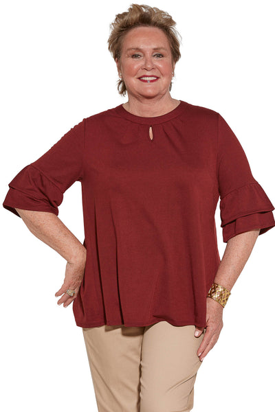Knit Top for Women - Burgundy | Cristy | Adaptive Clothing by Ovidis