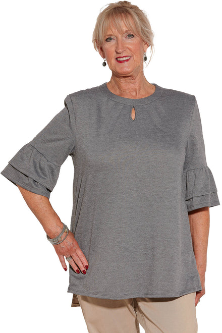 Knit Top for Women - Grey | Cristy | Adaptive Clothing by Ovidis