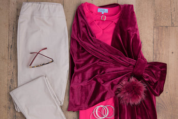 fuchsia gigi adaptive top and shawl with beige sophie adaptive pants with back-panels for elderly women