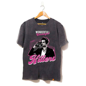camiseta preta rock the killers wonderfull