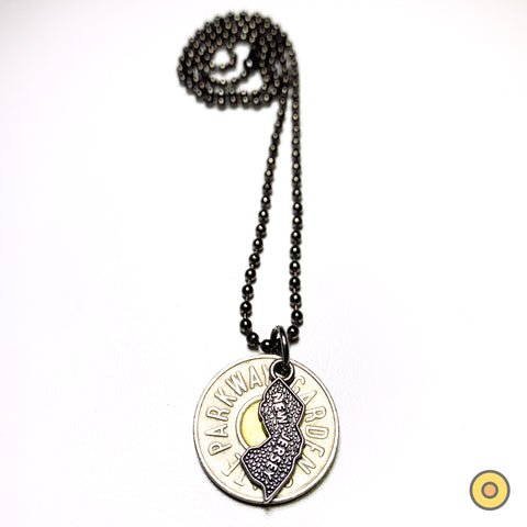 TOKEN STATE NECKLACE >> Metallic Ball Chain w/ NJ State Charm