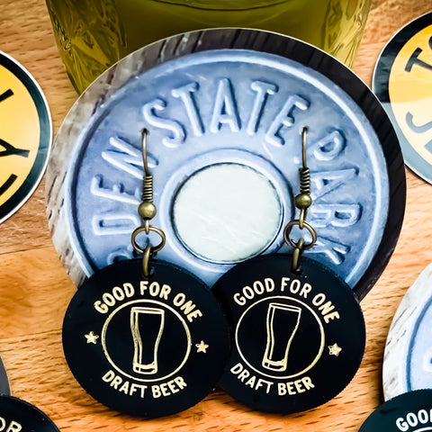 Draft Beer Drink Token Earrings