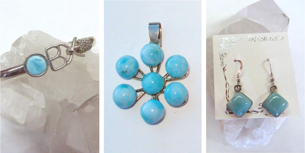 Larimar Bracelet, Larimar Pendant, Larimar Earrings