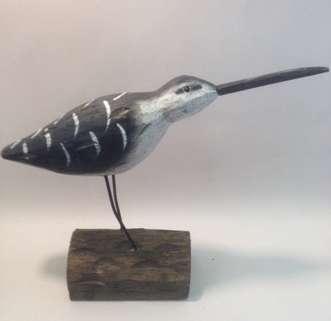Wooden Carved Long-Billed Sandpiper