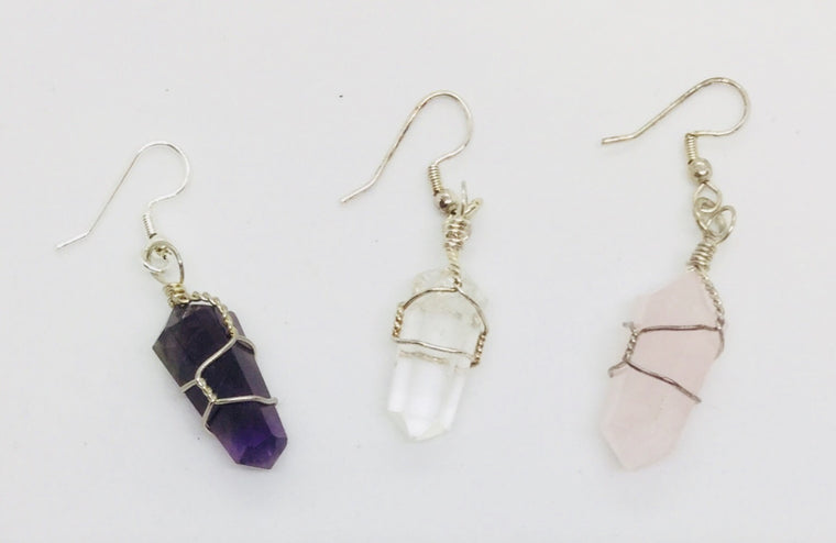 Wire wrapped double terminated earrings - Michael's Gems and Glass