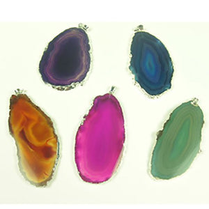 Silver Plated Agate Slice Pendant - Michael's Gems and Glass
