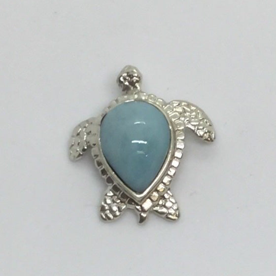 Larimar Turtle Pendant in Sterling Silver