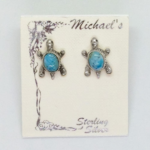 Larimar Turtle Stud Earrings - Michael's Gems and Glass